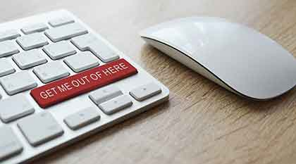 "keyboard with ""get me out of here"" button"